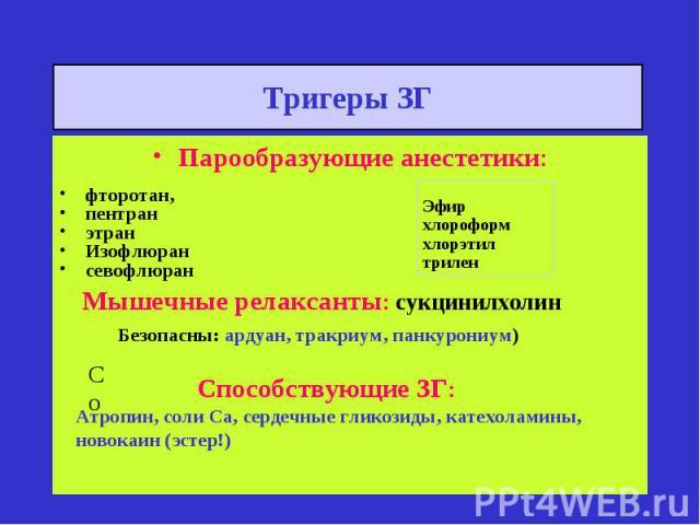 Эфир хлороформ хлорэтил трилен Мышечные релаксанты: сукцинилхолин Безопасны: ардуан, тракриум, панкурониум) Со Способствующие ЗГ: Атропин, соли Са, сердечные гликозиды, катехоламины, новокаин (эстер!) Тригеры ЗГ Парообразующие анестетики: фторотан, …