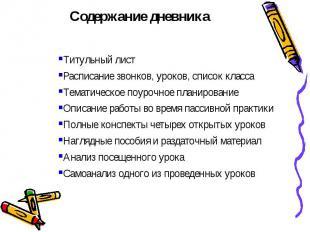 Титульный лист Расписание звонков, уроков, список класса Тематическое поурочное