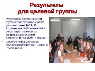 Результаты для целевой группы Результатом работы целевой группы стало активное у