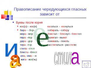 Буквы после корняБуквы после корнякас(а)- - кос(н) касаться - коснутьсябира- – б
