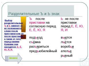 Выбор разделительных Ъ и Ь зависит от их положения в слове после приставки или н