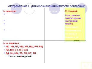 Употребление Ь для обозначения мягкости согласныхЬ пишется:Для обозначения мягко