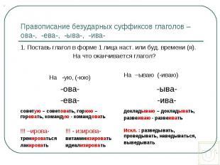 Правописание безударных суффиксов глаголов –ова-, -ева-, -ыва-, -ива-