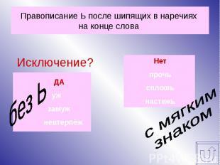 Правописание Ь после шипящих в наречиях на конце слова