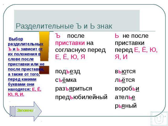 Выбор разделительных Ъ и Ь зависит от их положения в слове после приставки или не после приставки, а также от того, перед какими буквами они находятся: Е, Ё, Ю, Я, И. Выбор разделительных Ъ и Ь зависит от их положения в слове после приставки или не …