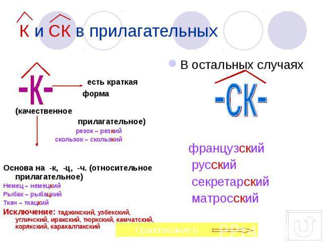 есть краткая форма (качественное прилагательное) резок – резкий скользок – скользкийОснова на -к, -ц, -ч. (относительное прилагательное)Немец – немецкийРыбак – рыбацкийТкач – ткацкий Исключение: таджикский, узбекский, угличский, иракский, тюркский, …