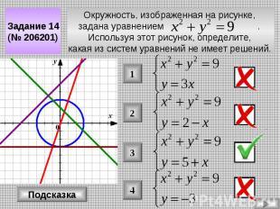 Окружность, изображенная на рисунке, задана уравнением . Используя этот рисунок,
