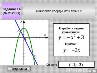Вычислите координаты точки В. Задание 14 (№ 212053) Парабола задана уравнением: