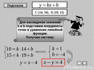 Подсказка Для нахождения значений k и b подставим координаты точек в уравнение л