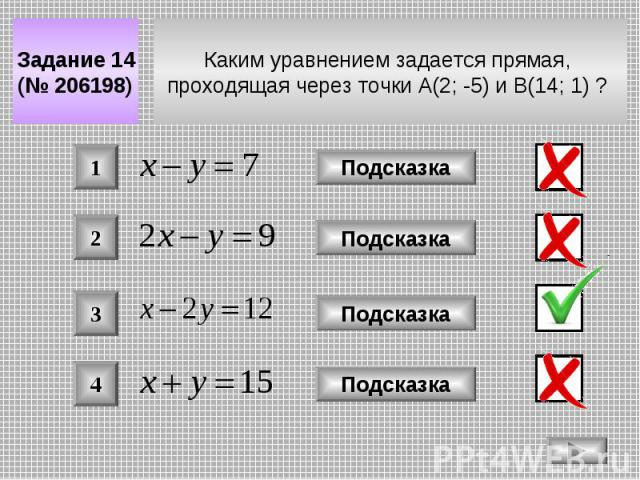 Каким уравнением задается прямая, проходящая через точки A(2; -5) и B(14; 1) ? Задание 14 (№ 206198) Подсказка 2 3 4 Подсказка Подсказка Подсказка 1