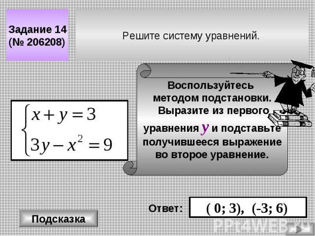 Решите систему уравнений. Задание 14 (№ 206208) Подсказка Воспользуйтесь методом подстановки. Выразите из первого уравнения у и подставьте получившееся выражение во второе уравнение. Ответ: ( 0; 3), (-3; 6)