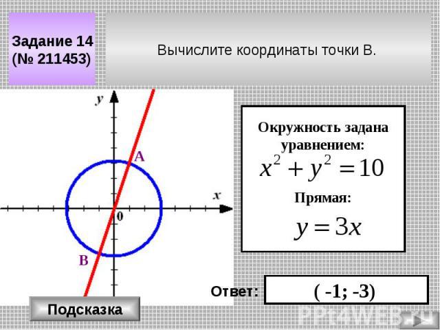 Вычислите координаты точки В. Задание 14 (№ 211453) Окружность задана уравнением: Прямая: ( -1; -3) Ответ: Подсказка А В