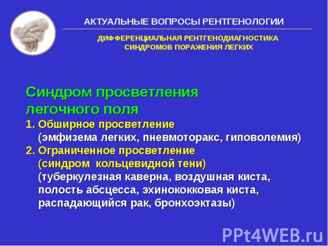 АКТУАЛЬНЫЕ ВОПРОСЫ РЕНТГЕНОЛОГИИ Синдром просветления легочного поля 1. Обширное просветление (эмфизема легких, пневмоторакс, гиповолемия) 2. Ограниченное просветление (синдром кольцевидной тени) (туберкулезная каверна, воздушная киста, полость абсц…