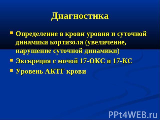 Диагностика Определение в крови уровня и суточной динамики кортизола (увеличение, нарушение суточной динамики) Экскреция с мочой 17-ОКС и 17-КС Уровень АКТГ крови