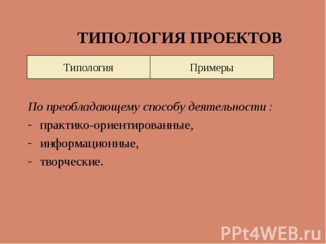 Типология Примеры ТИПОЛОГИЯ ПРОЕКТОВ По преобладающему способу деятельности : практико-ориентированные, информационные, творческие.