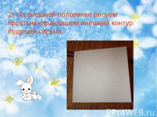 2) На внешней половинке рисуем простым карандашом внешний контур будущей сирени.