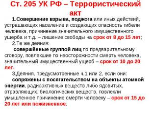 Ст. 205 УК РФ – Террористический акт Совершение взрыва, поджога или иных действи