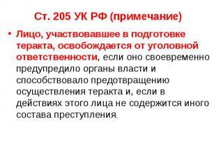 Ст. 205 УК РФ (примечание) Лицо, участвовавшее в подготовке теракта, освобождает