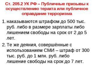 Ст. 205.2 УК РФ – Публичные призывы к осуществлению теракта или публичное оправд
