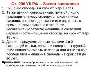 Ст. 206 УК РФ – Захват заложника Лишение свободы на срок от 5 до 10 лет. Те же д