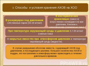 3. Способы и условия хранения АХОВ на ХОО В резервуарах под давлением собственны