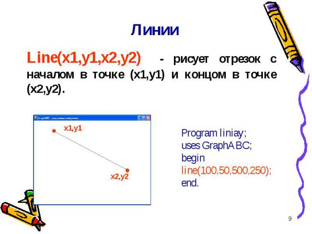 * Линии Line(x1,y1,x2,y2) - рисует отрезок с началом в точке (x1,y1) и концом в точке (x2,y2). Program liniay; uses GraphABC;begin line(100,50,500,250);end. x1,y1 x2,y2