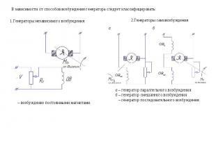 В зависимости от способов возбуждения генератора следует классифицировать: Генер