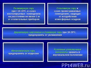 Полимерную тару при t 10-150C, в сухих вентилируемых помещениях на расстоянии не
