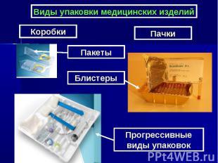 Виды упаковки медицинских изделий Пакеты Блистеры Прогрессивные виды упаковок Ко