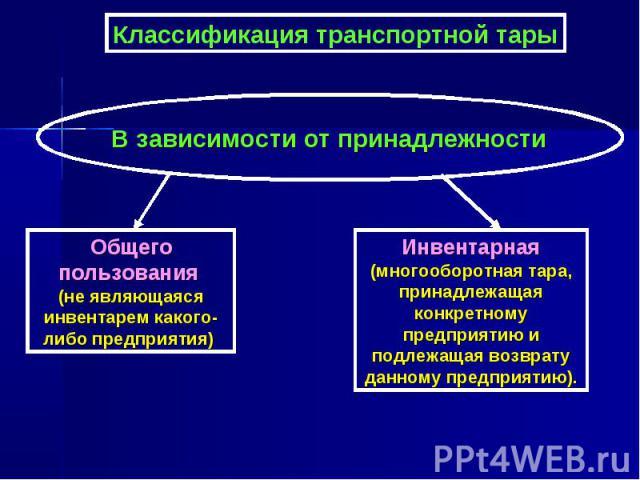 Классификация транспортной тары В зависимости от принадлежности Общего пользования (не являющаяся инвентарем какого-либо предприятия) Инвентарная (многооборотная тара, принадлежащая конкретному предприятию и подлежащая возврату данному предприятию).