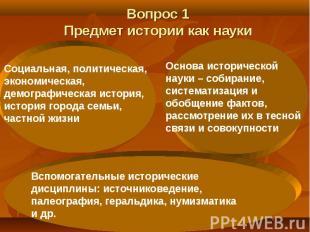 Вопрос 1 Предмет истории как науки Социальная, политическая, экономическая, демо