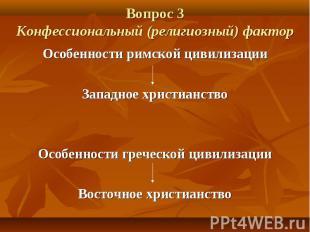 Вопрос 3 Конфессиональный (религиозный) фактор Особенности римской цивилизации З