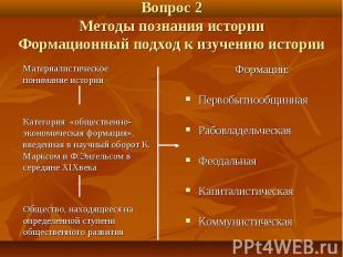Вопрос 2 Методы познания истории Формационный подход к изучению истории Материал