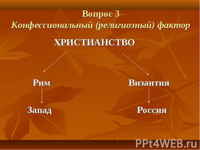 Вопрос 3 Конфессиональный (религиозный) фактор ХРИСТИАНСТВО Рим Византия Запад Россия