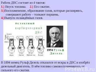 В 1894 немец Рульф Дизель отказался от искры в ДВС и изобрёл дизельный двигатель