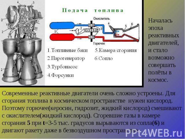 Современные реактивные двигатели очень сложно устроены. Для сгорания топлива в космическом пространстве нужен кислород. Поэтому горючее(керосин, гидрозит, жидкий кислород) смешивают с окислителем(жидкий кислород). Сгоревшие газы в камере сгорания 5 …