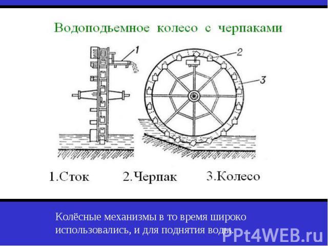 Колёсные механизмы в то время широко использовались, и для поднятия воды.