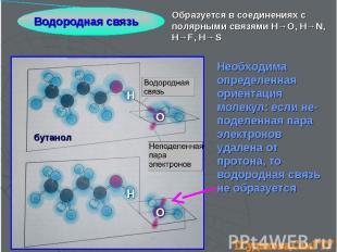 Водородная связь Образуется в соединениях с полярными связями H→O, H→N, H→F, H→S