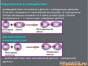взаимодействие постоянного диполя с наведенным диполем. Если ион сближается с не