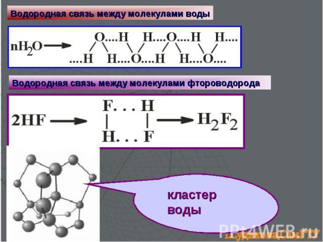 Водородная связь между молекулами воды Водородная связь между молекулами фтороводорода кластер воды