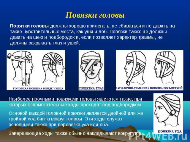 Повязки головы Повязки головы должны хорошо прилегать, не сбиваться и не давить на такие чувствительные места, как уши и лоб. Повязки также не должны давить на шею и подбородок и, если позволяет характер травмы, не должны закрывать глаз и ушей. Наиб…