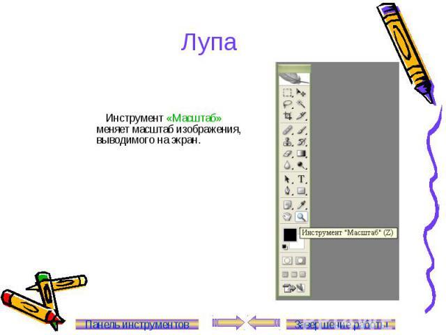 Лупа Инструмент «Масштаб» меняет масштаб изображения, выводимого на экран. Панель инструментов Завершение работы