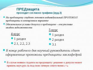ПРЕДзащита проходит согласно графика (ауд.3) 4 курс 1 раздел 2.1, 2.2, 2.3 На пр