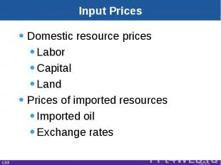 Input Prices Domestic resource pricesLaborCapitalLandPrices of imported resource