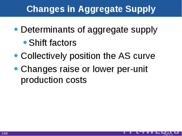 Changes in Aggregate Supply Determinants of aggregate supplyShift factorsCollectively position the AS curveChanges raise or lower per-unit production costs LO2 29-*