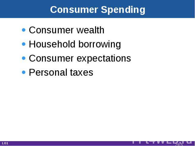 Consumer Spending Consumer wealthHousehold borrowingConsumer expectationsPersonal taxes LO1 29-*