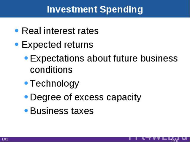 Investment Spending Real interest ratesExpected returnsExpectations about future business conditionsTechnologyDegree of excess capacityBusiness taxes LO1 29-*