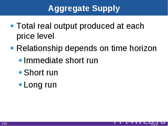 Aggregate Supply Total real output produced at each price levelRelationship depends on time horizonImmediate short runShort runLong run LO2 29-*