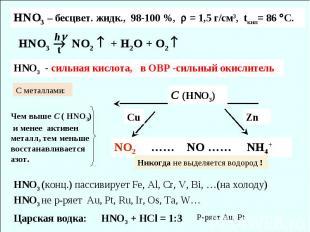 HNO3 NO2 + H2O + O2 h HNO3 – бесцвет. жидк., 98-100 %, = 1,5 г/см3, tкип= 86 С.