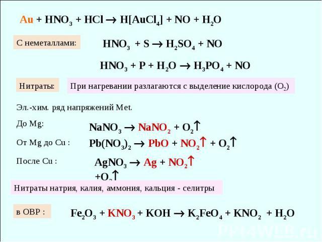 Au + HNO3 + HCl H[AuCl4] + NO + H2O HNO3 + S H2SO4 + NO HNO3 + P + H2O H3PO4 + NO C неметаллами: Нитраты: При нагревании разлагаются с выделение кислорода (О2) NaNO3 NaNO2 + O2 Pb(NO3)2 PbO + NO2 + O2 AgNO3 Ag + NO2 +O2 Эл.-хим. ряд напряжений Меt. …